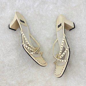 Stewart Weitzman Cream Block Heel Mule Sandals